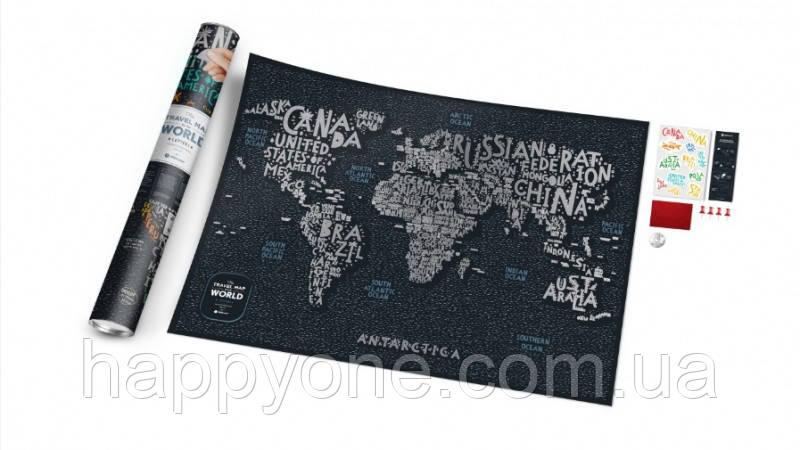 Стирающаяся скретч карта мира Travel Map Letters World (английский язык) в тубусе
