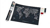 Стирающаяся скретч карта мира Travel Map Letters World (английский язык) в тубусе, фото 1