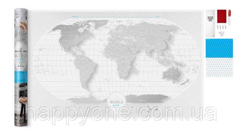 Прозора скретч карта світу Travel Map World AIR (англійська мова) в тубусі
