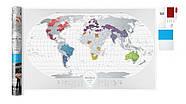 Прозора скретч карта світу Travel Map World AIR (англійська мова) в тубусі, фото 2