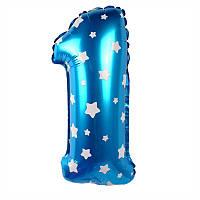 Фольгированный воздушный шар-цифра 1 голубая в звездочки Китай