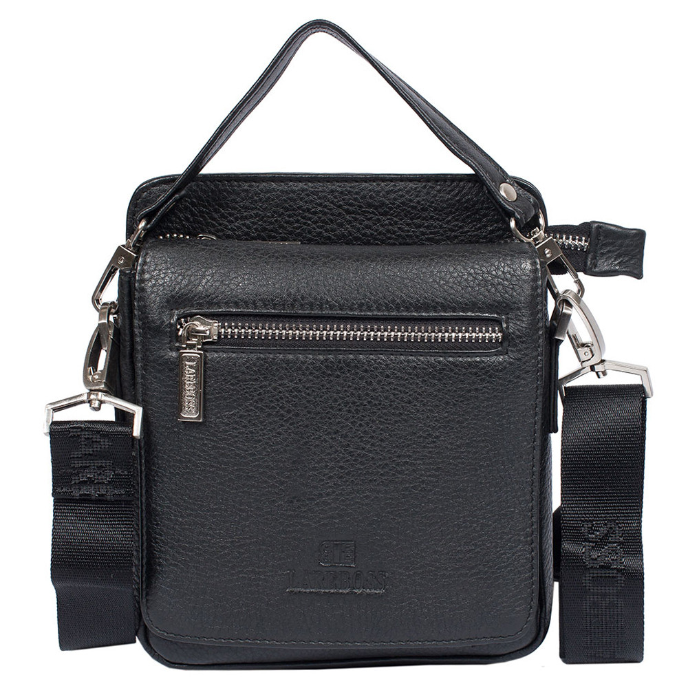 96e6f5aae8b0 Мужская кожаная сумка Lare Boss M83003-2 черная (20х17,5х5 см): 1 ...