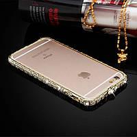 Бампер для Iphone 6/6S с камнями Swarovski Металл gold