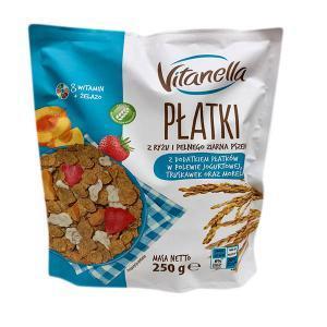 Platki Vitanella сніданок рисово-пшеничний (пластівці з полуницею і абрикосом) 250 гр.