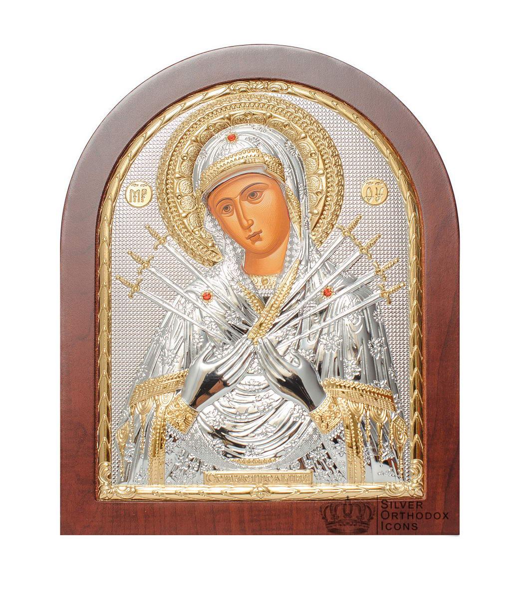 Серебряная икона Семистрельная Божья Матерь (Греция )  с  позолотой 14,7 х 18 см