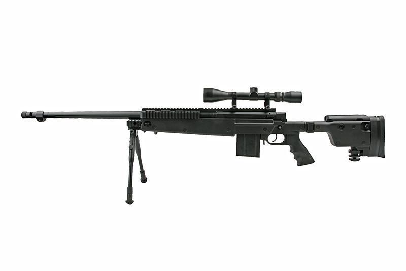 Страйкбольная винтовка снайперская MB4407D - с оптикой и сошками [WELL] (для страйкбола)