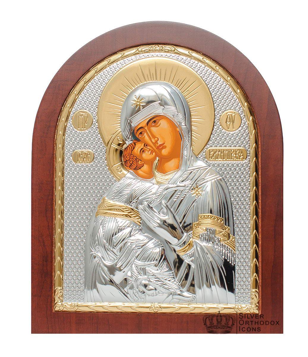 Серебряная Икона Владимирская Божья Матерь 18 х 14,7 см сделана в Греции