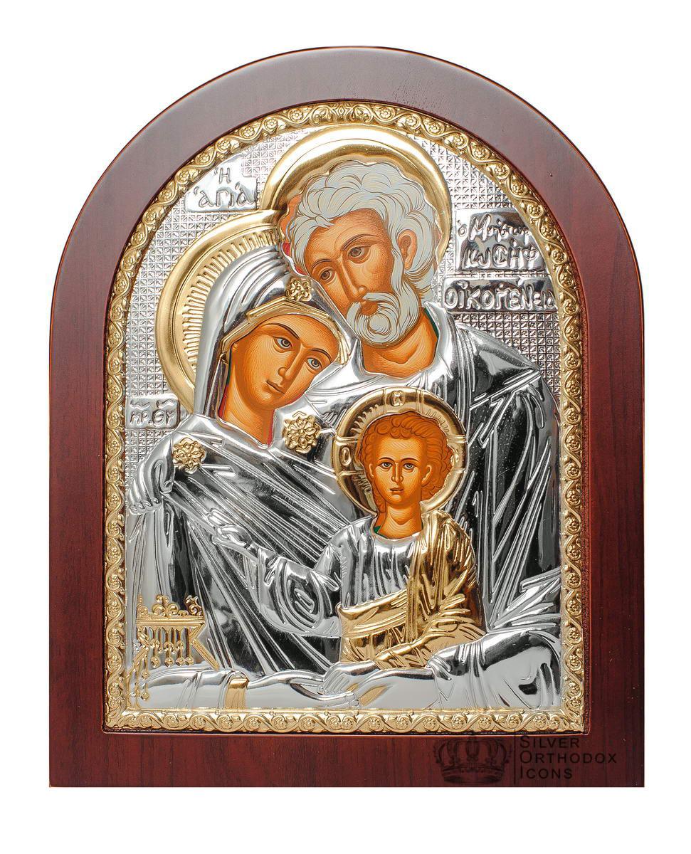 """Икона серебряная """"Святая Семья"""" 200х250мм (Греция)"""