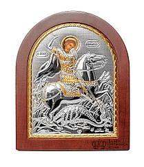 Святой Георгий Победоносец 20х25см Серебряная Икона изготовлена в Греции