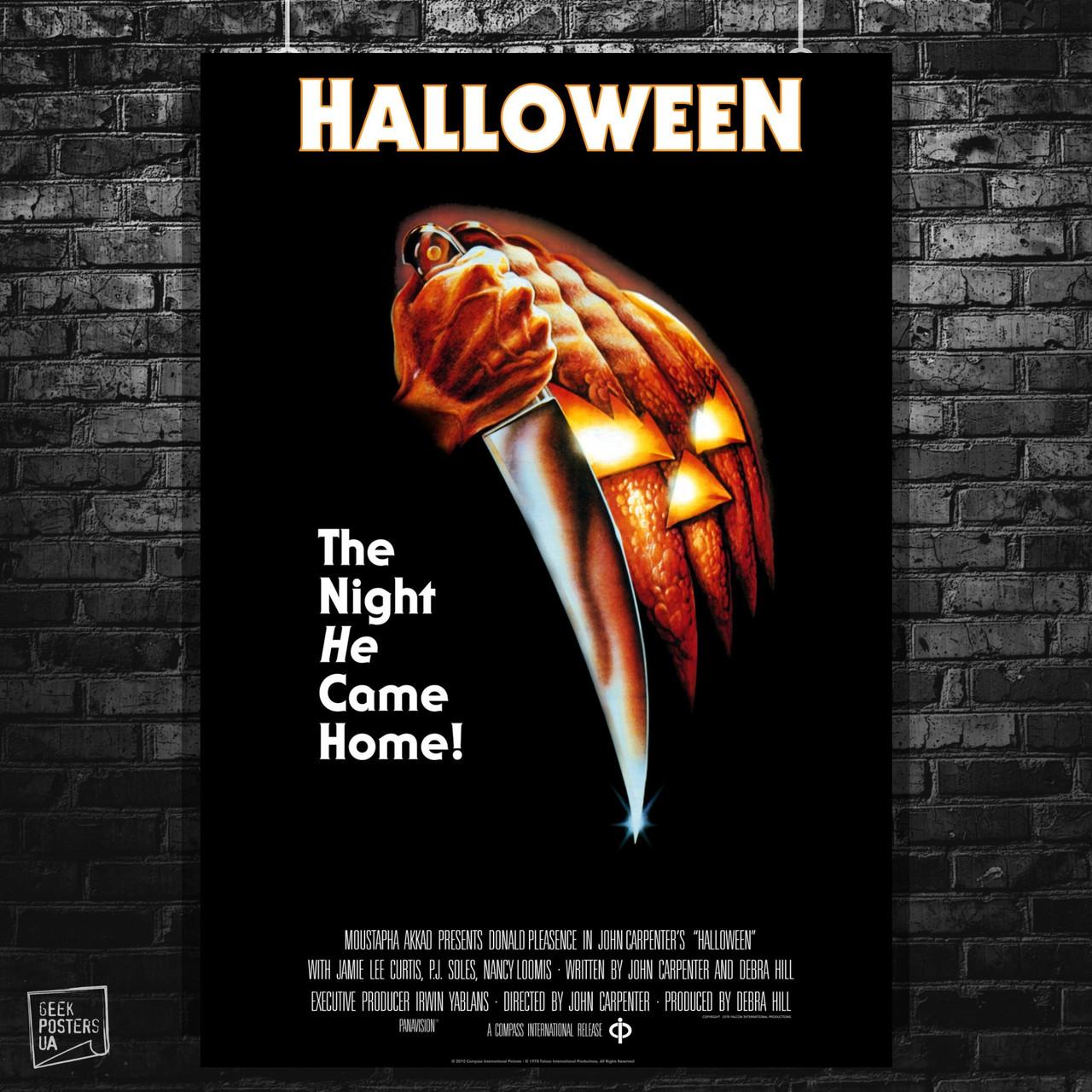 Постер Хэллоуин / Halloween (1978). Размер 60x42см (A2). Глянцевая бумага