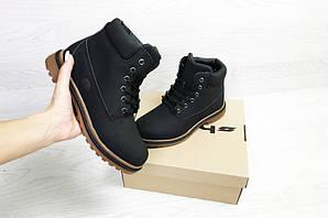 Ботинки тимберленд зимние черные кожаные нубук с мехом (реплика) Timberland Black Leather Nubuck Winter