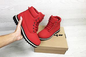 Ботинки тимберленд зимние красные кожаные нубук с мехом (реплика) Timberland Red Leather Nubuck Winter