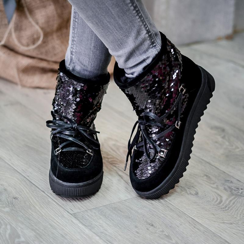 Ботинки женские замшевые с пайетками на плоской подошве Размеры 36-40