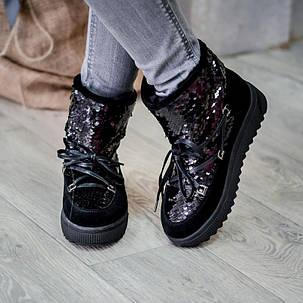 Ботинки женские замшевые с пайетками на плоской подошве Размеры 36-40, фото 2