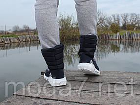 Женские зимние дутики синие adidas реплика, фото 3