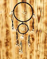"""Ловец Снов """"Два кольца"""" с каури, черный № 2"""