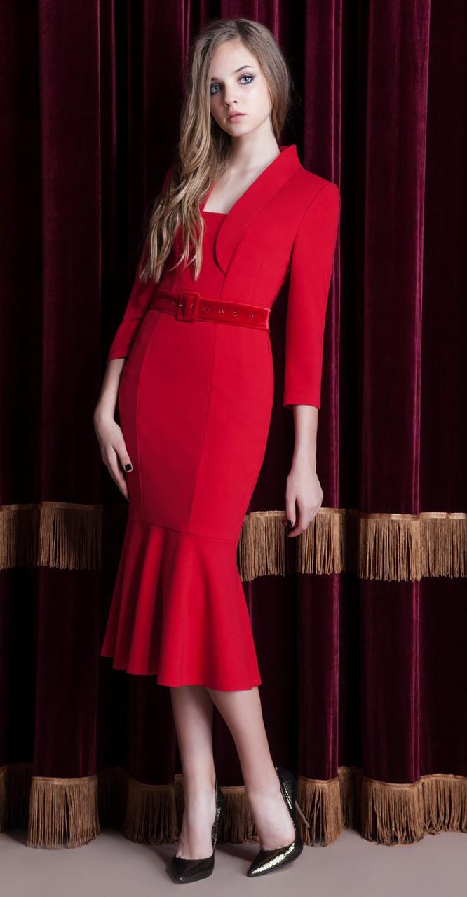 Платье Nova Line-5821 белорусский трикотаж, красный, 42