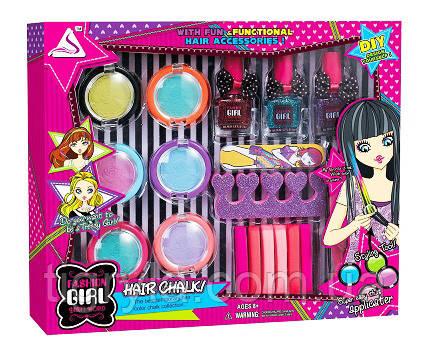 Мелки для волос - детская косметика в наборе лаки,разделители для пальцев,пилочка, фото 2