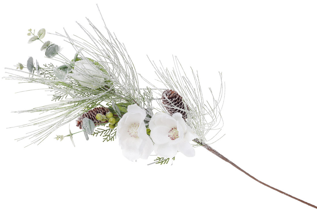 Декоративная ветка в инее с декором из белых цветов 70см (758-293)