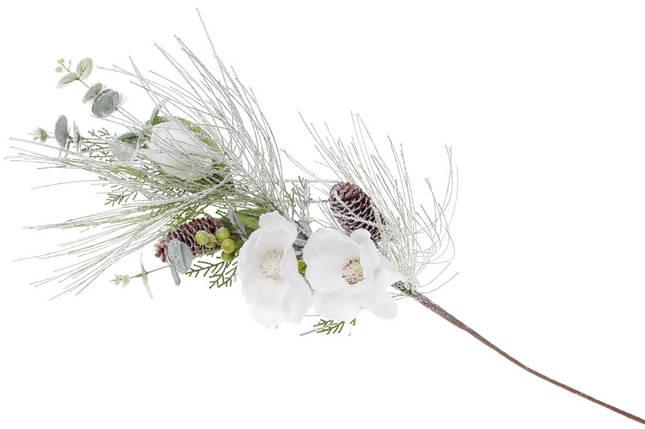 Декоративная ветка в инее с декором из белых цветов 70см (758-293), фото 2