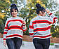 """Женский свободный свитерок до больших размеров 18-107 """"Вязка Полосы"""", фото 3"""