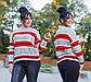 """Женский свободный свитерок до больших размеров 18-107 """"Вязка Полосы"""", фото 2"""
