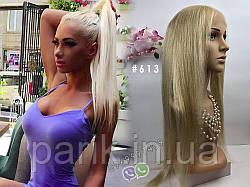 Натуральный длинный парик блонд #613 на полной сетке, имитация кожи головы