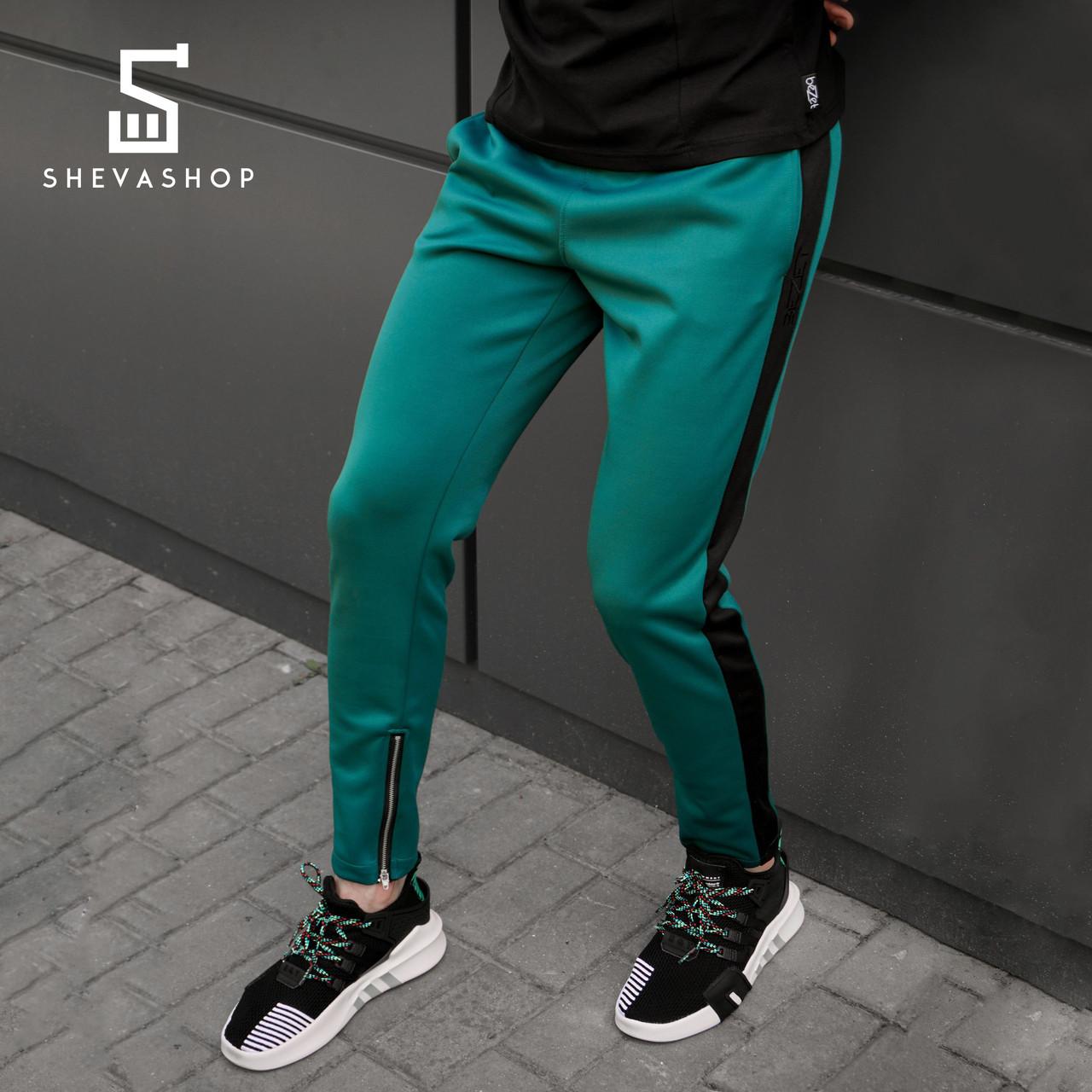 Спортивные штаны мужские BeZet with zipp '18 зеленые