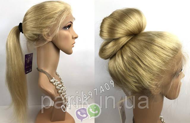 Парик блонд длинный прическа хвостик и дулька