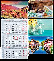 Календарь 2019 квартальный, 3 пружины, настенный, BM.2105