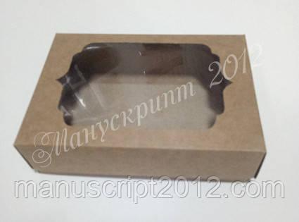 Коробка для подарков с фигурным окном крафт