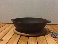 Порционная чугунная сковородка   200х35мм с деревянной подставочкой