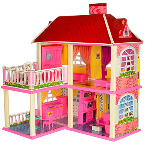 Кукольный дом для Кукол 6980 / Двухэтажный домик с верандой и мебелью