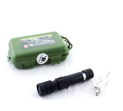 Фонарик тактический мини BAILONG BL- 518  Т6 (полиция)  акум 18650 зарядка  от USB линза фокусировка