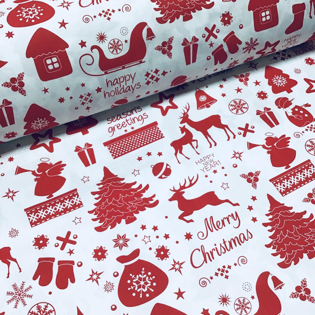 Тканина бавовняна новорічна, червона Різдвяна історія на білому