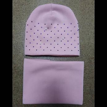 Комплект зимний шапка и снуд для девочек 2-5 лет