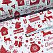 Тканина бавовняна новорічна, червона Різдвяна історія на білому, фото 3