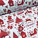Тканина бавовняна новорічна, червона Різдвяна історія на білому, фото 4
