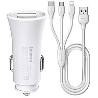 Автомобильное зарядное устройство Remax RCC-217 2.4A 2*USB + 3-in-1 кабель (Lightning/microUSB/Type-C) white