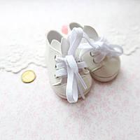 """Обувь для кукол, ботиночки белые на шнуровке """"Зайчики"""" - 6.8*3.5 см"""