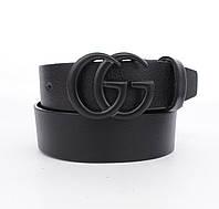 Кожаный ремень-гвоздь Gucci 8047-401 черный, Турция