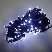 Гирлянда уличная Нить LED 200, холодный белый, чёрный провод, фото 1