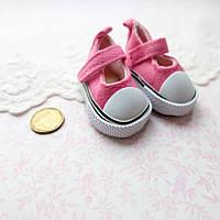 Обувь для кукол, туфельки на липучке ярко-розовые - 5*2.5 см