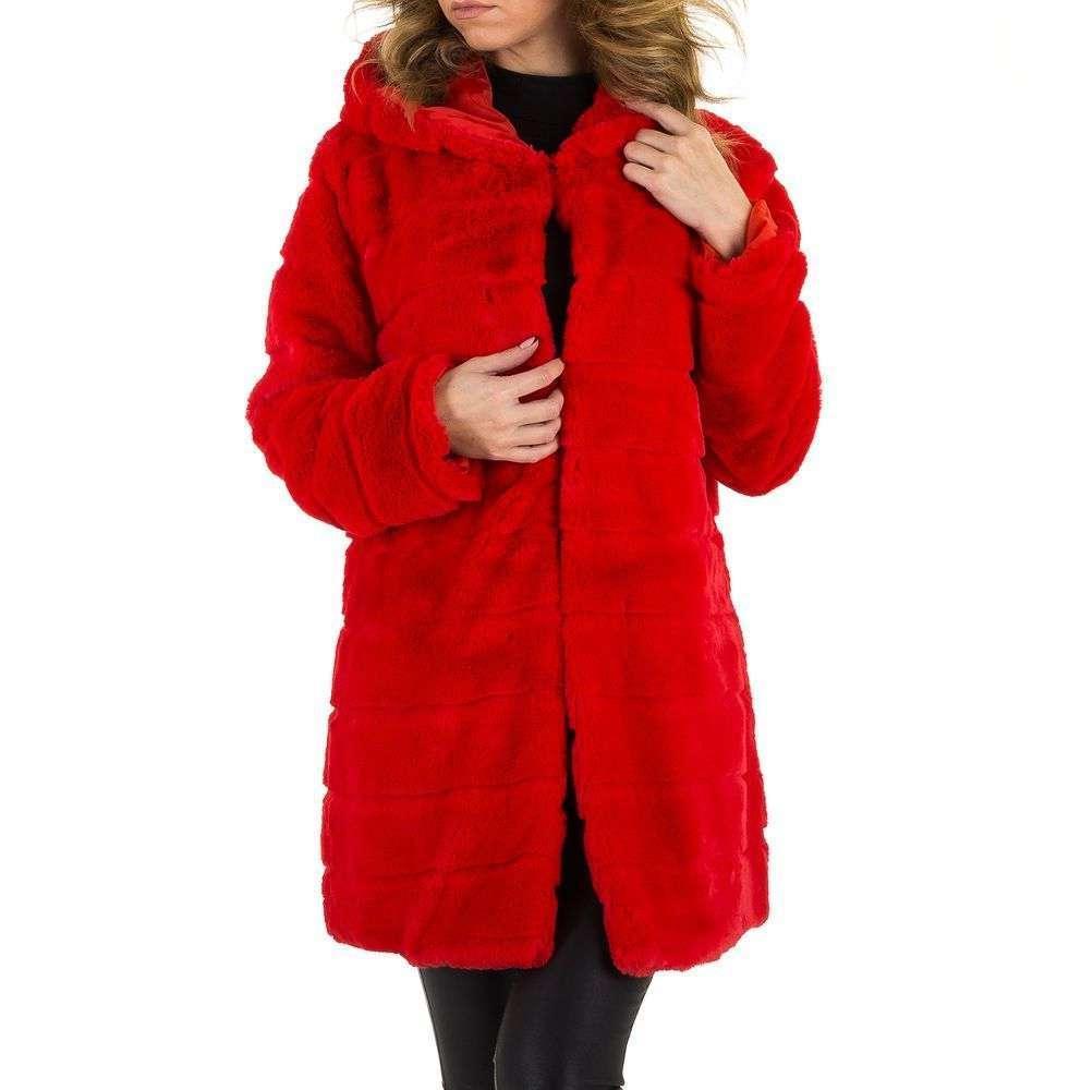 Плюшевая шуба с капюшоном производителя Holala (Европа) - Красный