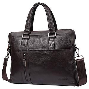 "Мужская кожаная сумка для ноутбука 15"" Tofionno 8660-3 коричневая (37х29х7 см)"