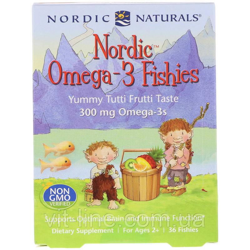 Nordic Naturals, Nordic, рыбки с омега-3, для детей от 2 лет, вкус тутти-фрутти, 300 мг, 36 рыбок