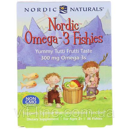 Nordic Naturals, Nordic, рыбки с омега-3, для детей от 2 лет, вкус тутти-фрутти, 300 мг, 36 рыбок, фото 2