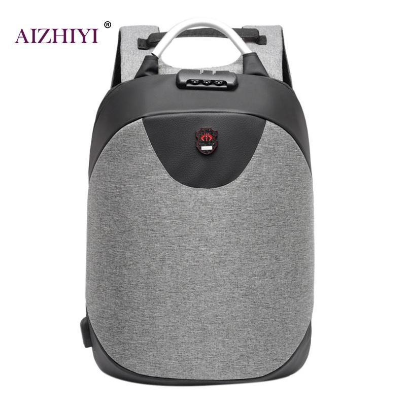 Рюкзак  с USB-разъемом и таможенным замком серый.