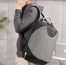Рюкзак  с USB-разъемом и таможенным замком серый., фото 3