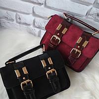 Замшевая замшева сумочка сумка клатч с лаковыми вставками